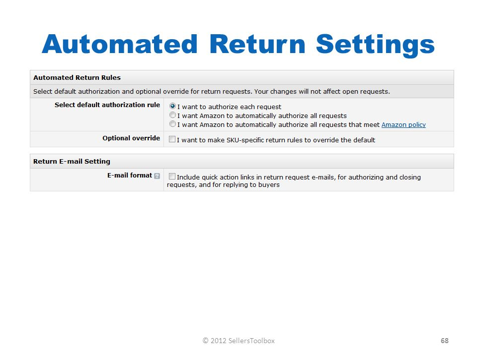 Automated Return Settings 68© 2012 SellersToolbox