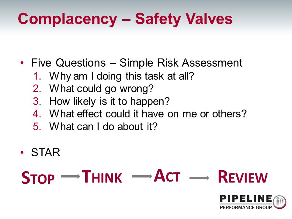 Five Questions – Simple Risk Assessment 1.Why am I doing this task at all? 2.What could go wrong? 3.How likely is it to happen? 4.What effect could it