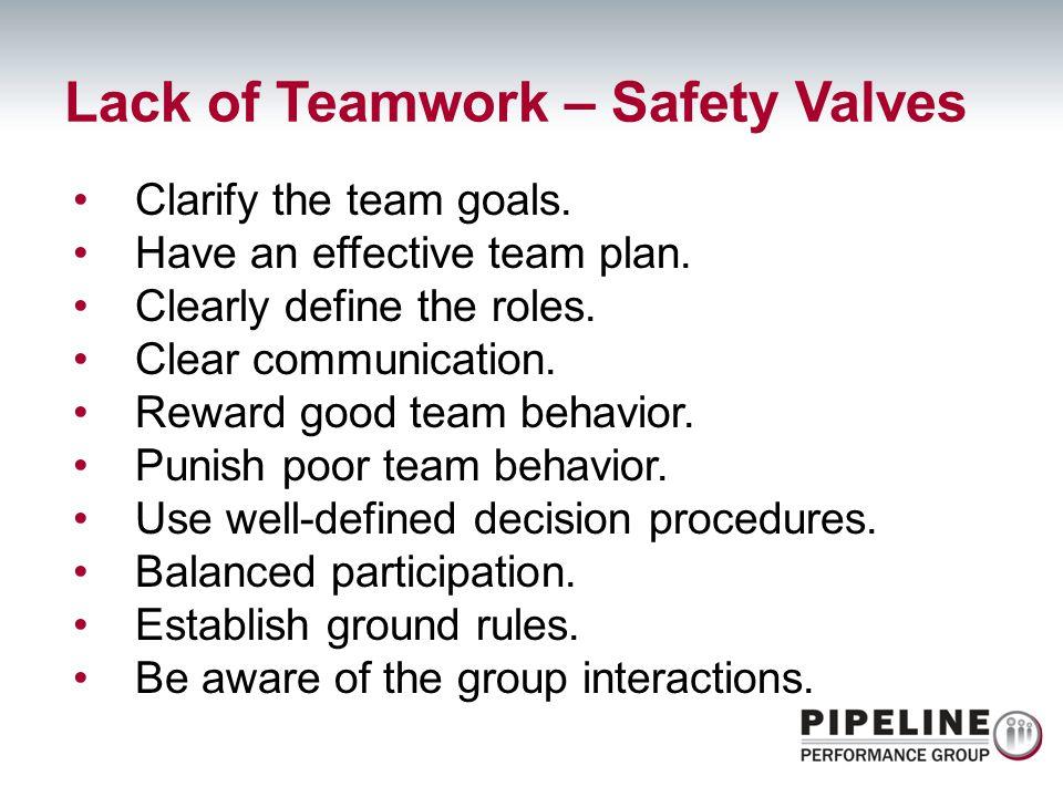 Clarify the team goals. Have an effective team plan. Clearly define the roles. Clear communication. Reward good team behavior. Punish poor team behavi