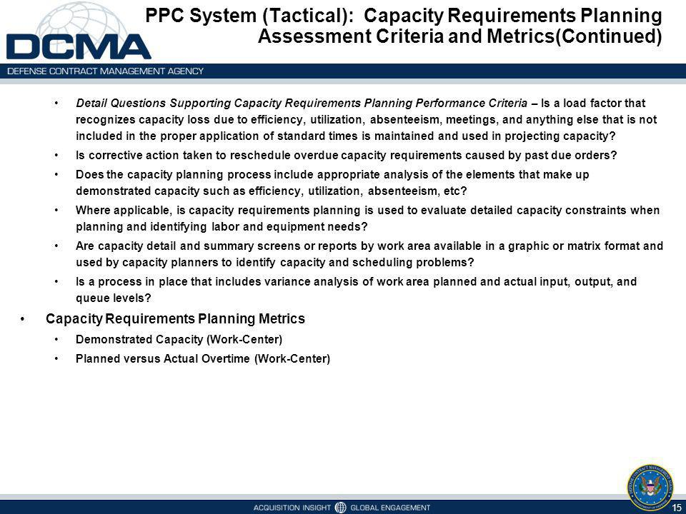 PPC System (Tactical): Capacity Requirements Planning Assessment Criteria and Metrics(Continued) 15 Detail Questions Supporting Capacity Requirements