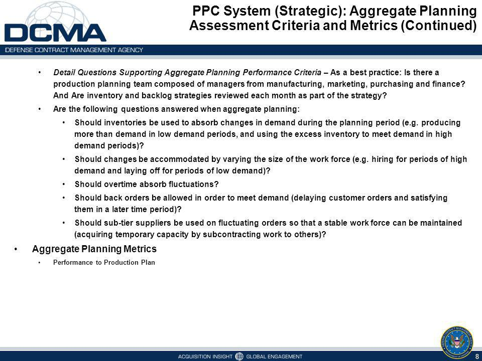 PPC System (Strategic): Aggregate Planning Assessment Criteria and Metrics (Continued) 8 Detail Questions Supporting Aggregate Planning Performance Cr