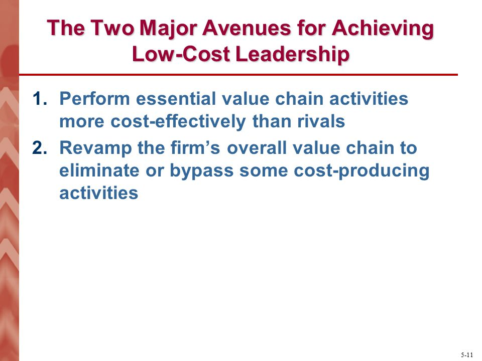5-11 The Two Major Avenues for Achieving Low-Cost Leadership 1.Perform essential value chain activities more cost-effectively than rivals 2.Revamp the