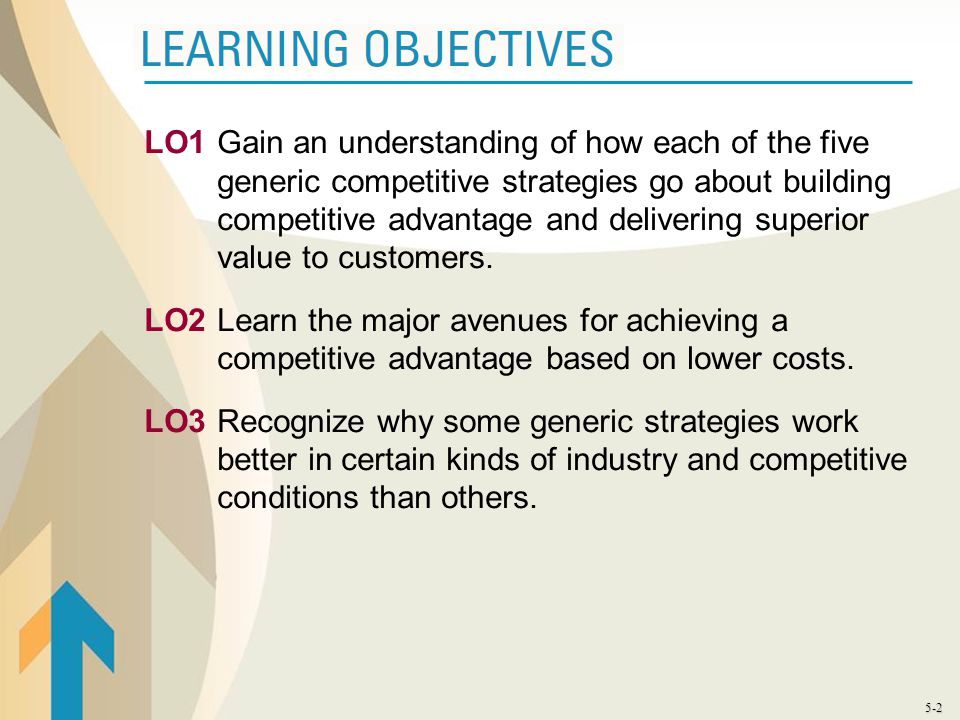 5-2 LO1Gain an understanding of how each of the five generic competitive strategies go about building competitive advantage and delivering superior va
