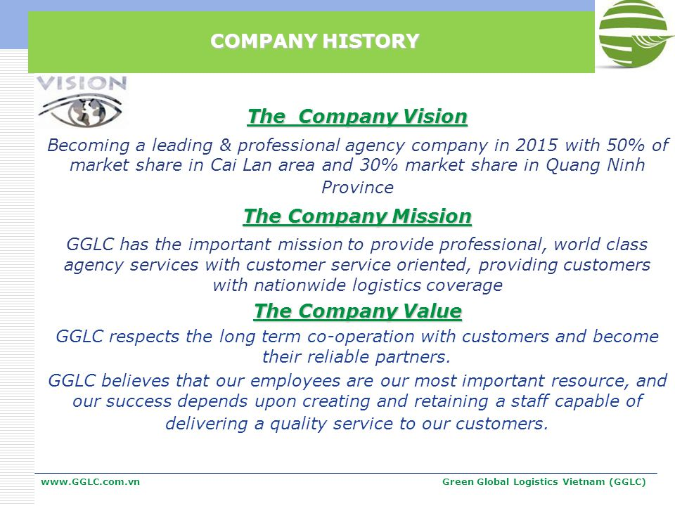 The Company Vision Becoming a leading & professional agency company in 2015 with 50% of market share in Cai Lan area and 30% market share in Quang Nin