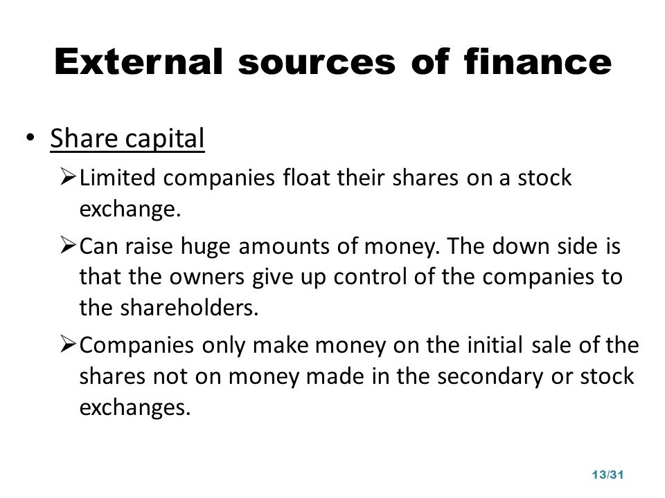 External sources of finance Share capital Limited companies float their shares on a stock exchange. Can raise huge amounts of money. The down side is