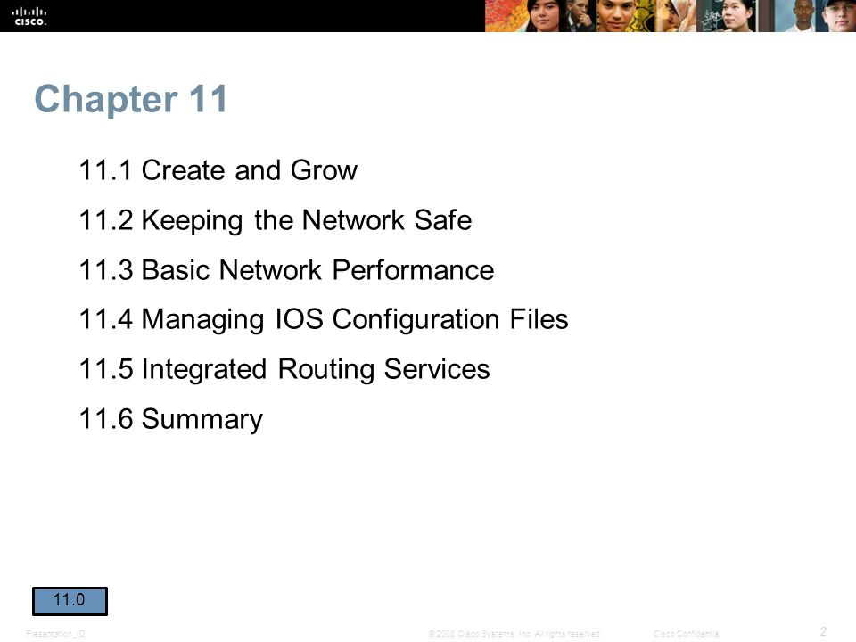 Presentation_ID 2 © 2008 Cisco Systems, Inc. All rights reserved.Cisco Confidential Chapter 11 11.1 Create and Grow 11.2 Keeping the Network Safe 11.3