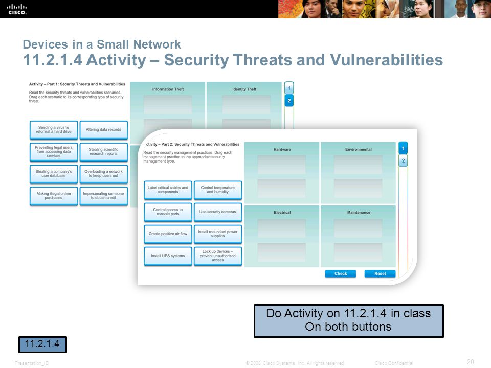 Presentation_ID 20 © 2008 Cisco Systems, Inc. All rights reserved.Cisco Confidential Devices in a Small Network 11.2.1.4 Activity – Security Threats a