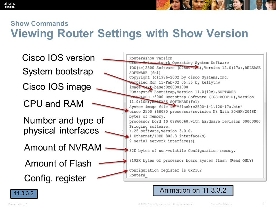 Presentation_ID 40 © 2008 Cisco Systems, Inc. All rights reserved.Cisco Confidential Show Commands Viewing Router Settings with Show Version Cisco IOS