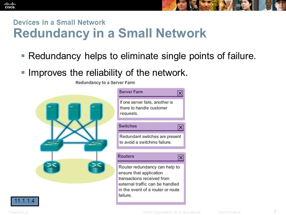 Presentation_ID 8 © 2008 Cisco Systems, Inc. All rights reserved.Cisco Confidential Devices in a Small Network Redundancy in a Small Network Redundanc