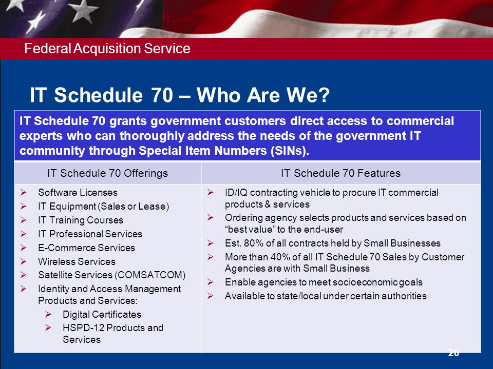 Federal Acquisition Service IT Schedule 70 – Who Are We? 20 IT Schedule 70 grants government customers direct access to commercial experts who can tho