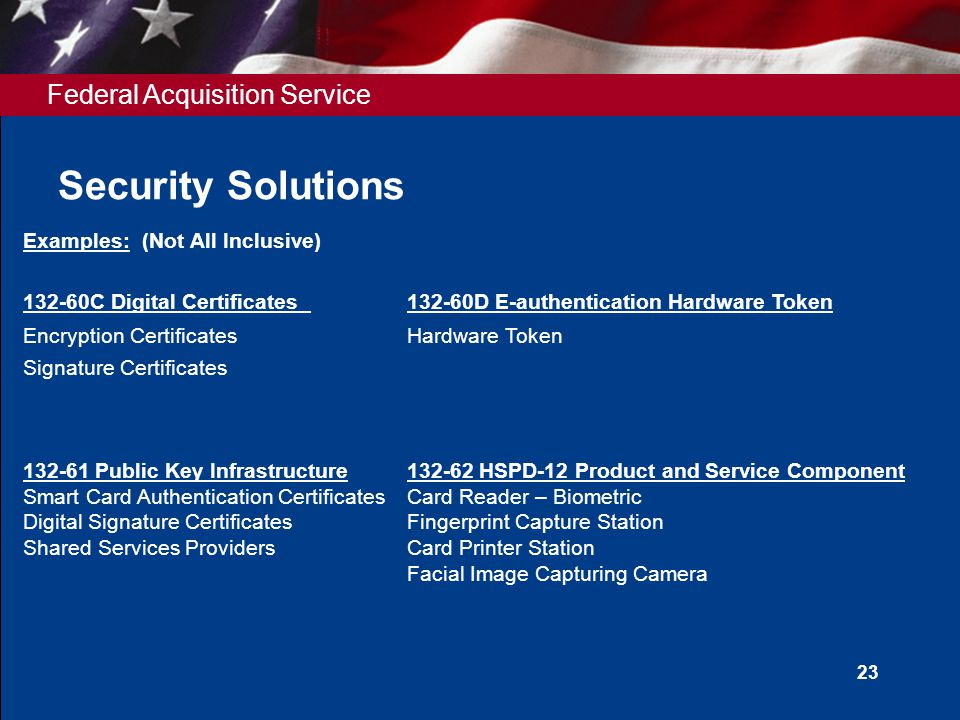 Federal Acquisition Service Security Solutions 23 Examples: (Not All Inclusive) 132-60C Digital Certificates132-60D E-authentication Hardware Token En