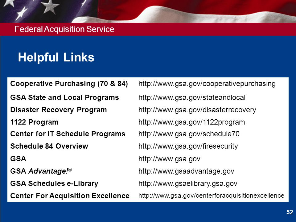 Federal Acquisition Service Helpful Links Cooperative Purchasing (70 & 84)http://www.gsa.gov/cooperativepurchasing GSA State and Local Programshttp://