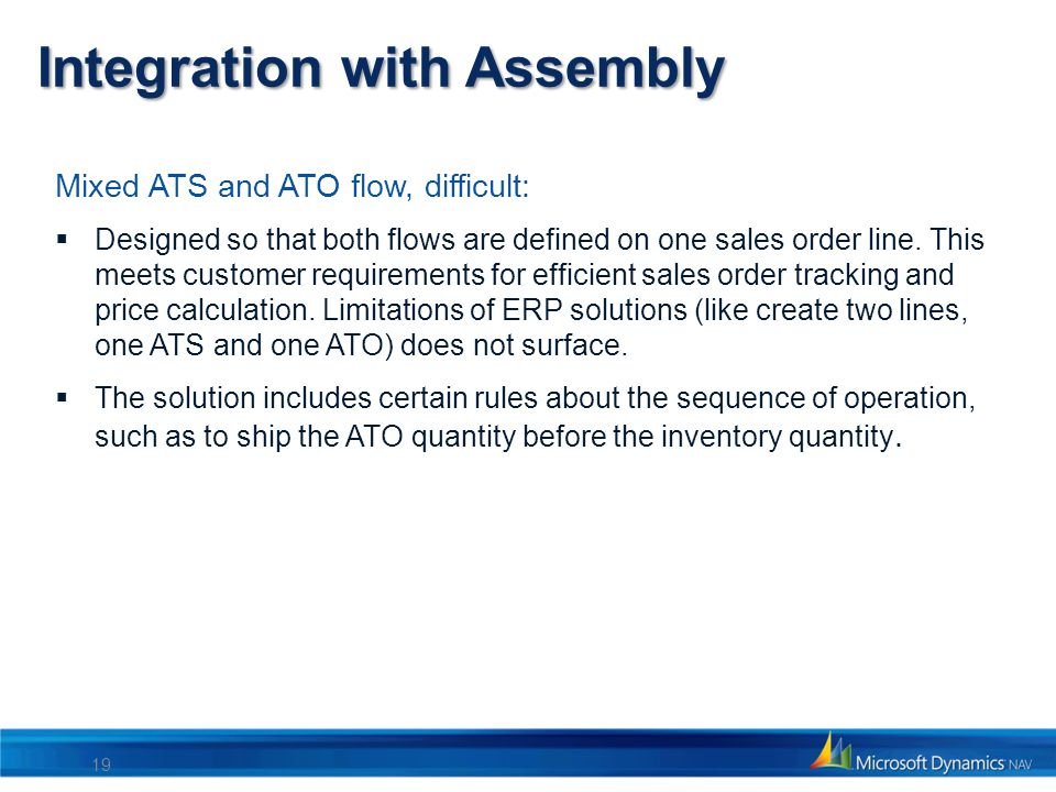Integration with Assembly Mixed ATS and ATO flow, difficult: Designed so that both flows are defined on one sales order line. This meets customer requ