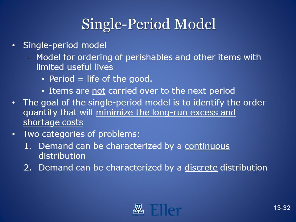 Single-Period Model Single-period model – Model for ordering of perishables and other items with limited useful lives Period = life of the good. Items