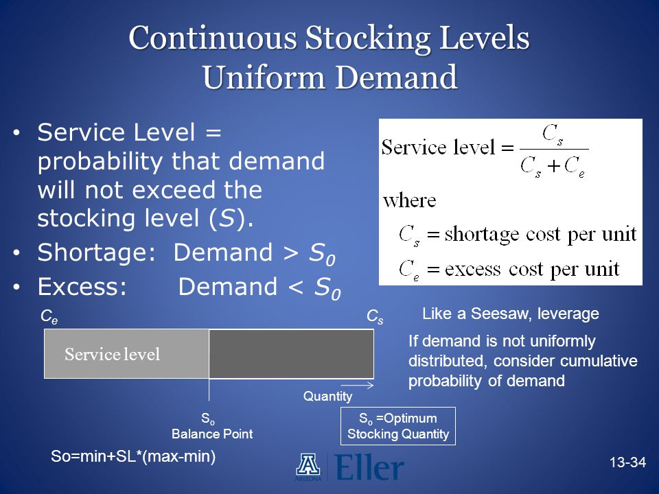 Continuous Stocking Levels Uniform Demand Service Level = probability that demand will not exceed the stocking level (S). Shortage: Demand > S 0 Exces