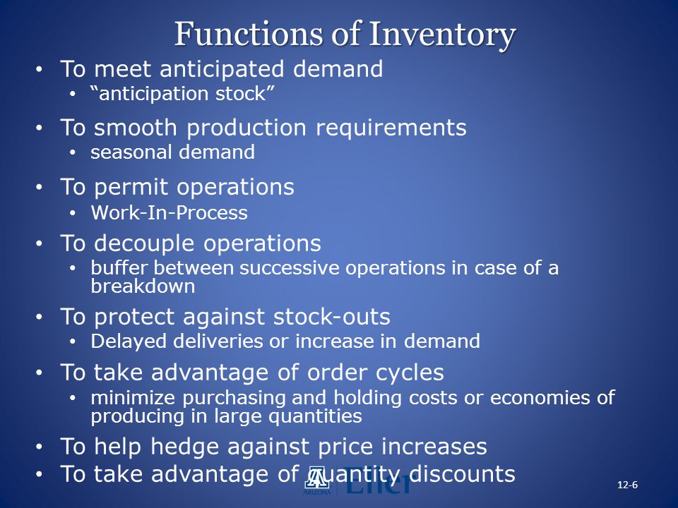 Functions of Inventory To meet anticipated demand anticipation stock To smooth production requirements seasonal demand To permit operations Work-In-Pr