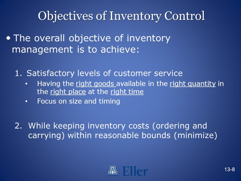 Objectives of Inventory Control The overall objective of inventory management is to achieve: 1.Satisfactory levels of customer service Having the righ