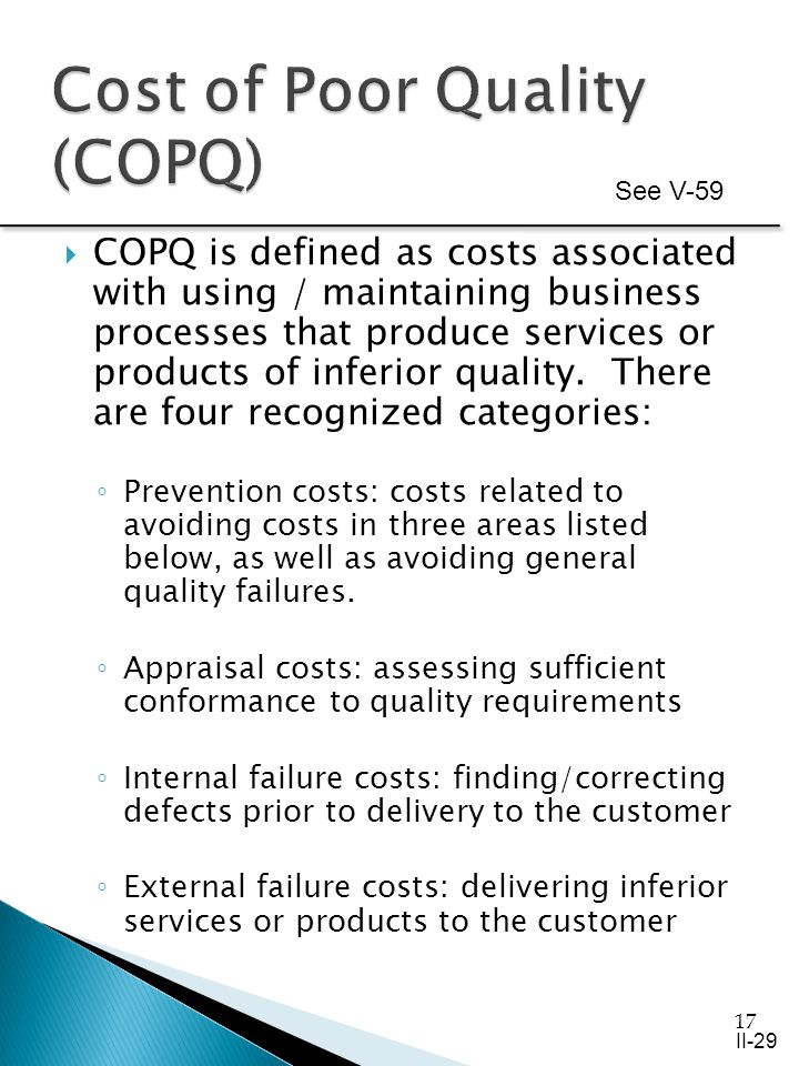 17 COPQ is defined as costs associated with using / maintaining business processes that produce services or products of inferior quality.