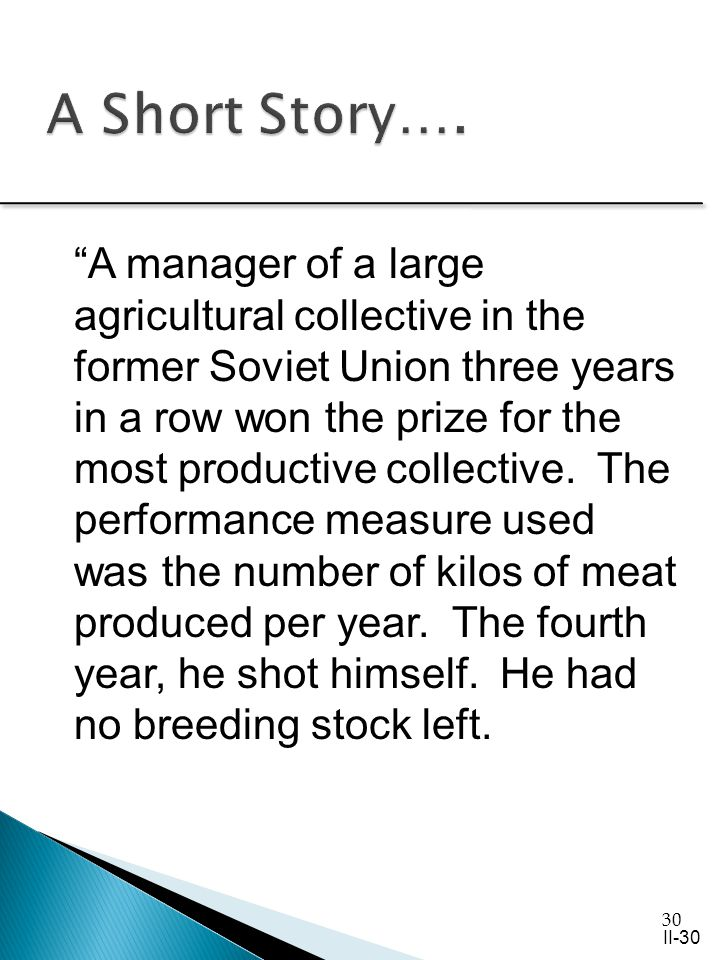 30 A manager of a large agricultural collective in the former Soviet Union three years in a row won the prize for the most productive collective.