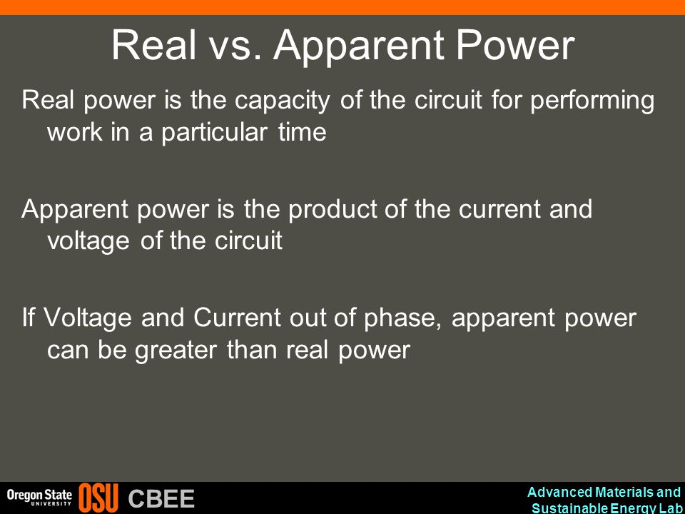 Advanced Materials and Sustainable Energy Lab CBEE Real vs. Apparent Power Real power is the capacity of the circuit for performing work in a particul