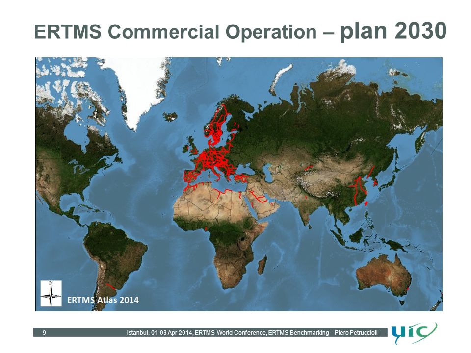 ERTMS Commercial Operation – plan 2030 Istanbul, 01-03 Apr 2014, ERTMS World Conference, ERTMS Benchmarking – Piero Petruccioli 9