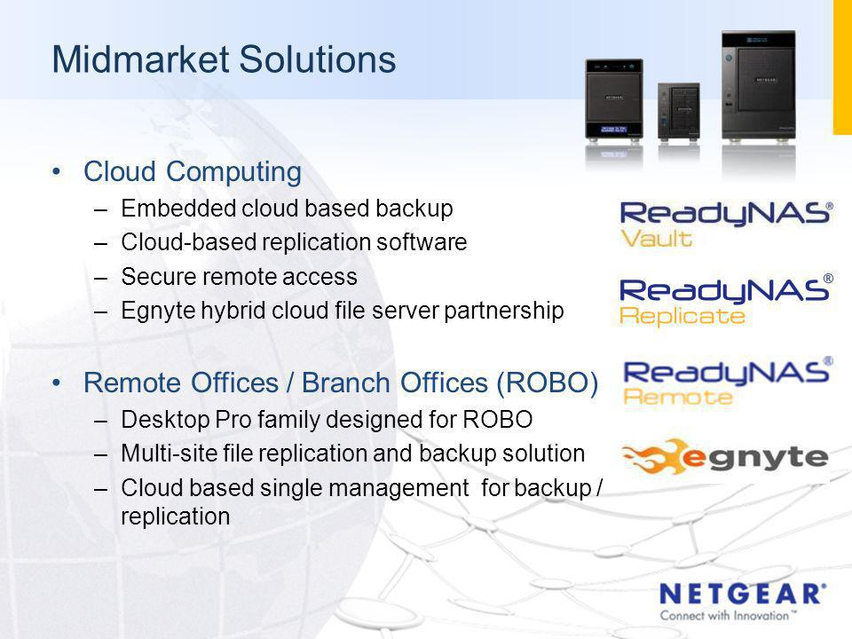 Midmarket Solutions Cloud Computing –Embedded cloud based backup –Cloud-based replication software –Secure remote access –Egnyte hybrid cloud file ser