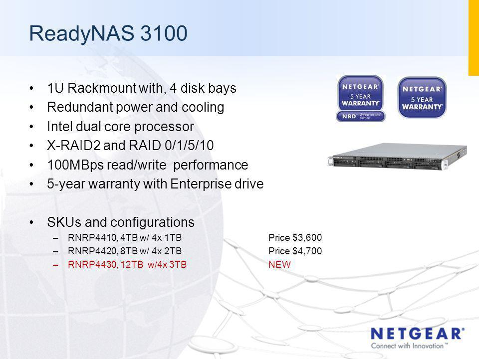 ReadyNAS 3100 1U Rackmount with, 4 disk bays Redundant power and cooling Intel dual core processor X-RAID2 and RAID 0/1/5/10 100MBps read/write perfor