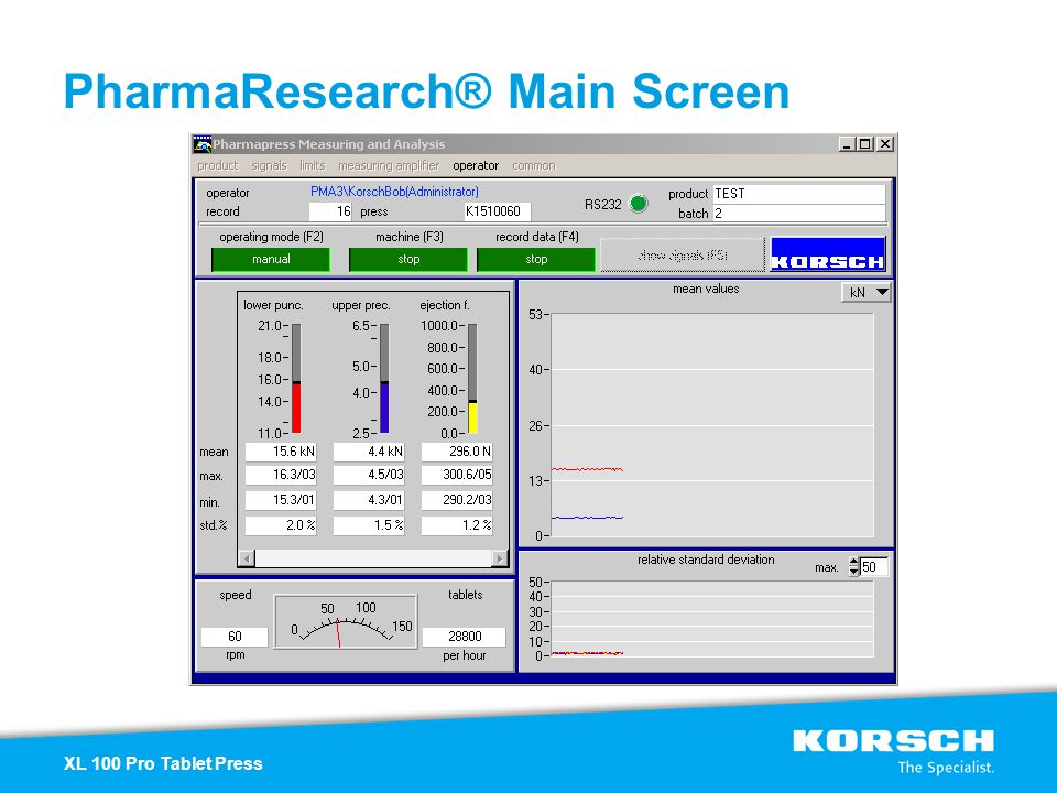 PharmaResearch® Main Screen XL 100 Pro Tablet Press