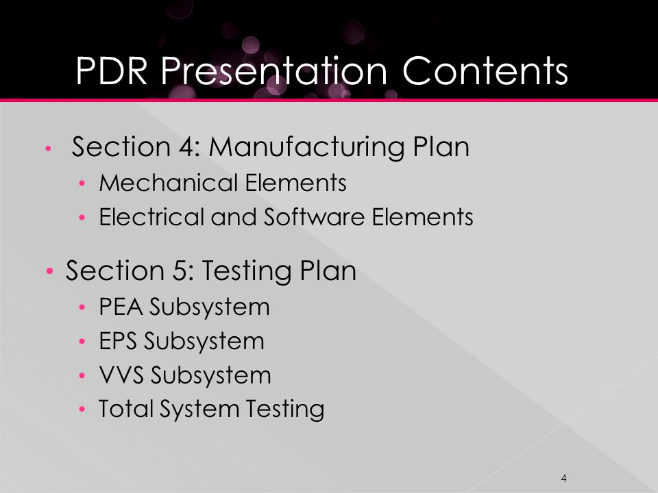 Section 4: Manufacturing Plan Mechanical Elements Electrical and Software Elements Section 5: Testing Plan PEA Subsystem EPS Subsystem VVS Subsystem Total System Testing 4
