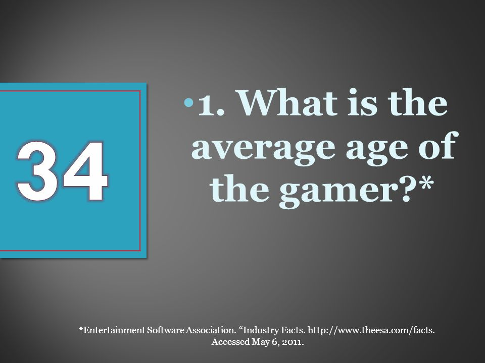 1. What is the average age of the gamer * *Entertainment Software Association.
