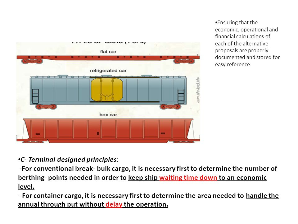 C- Terminal designed principles: -For conventional break- bulk cargo, it is necessary first to determine the number of berthing- points needed in orde