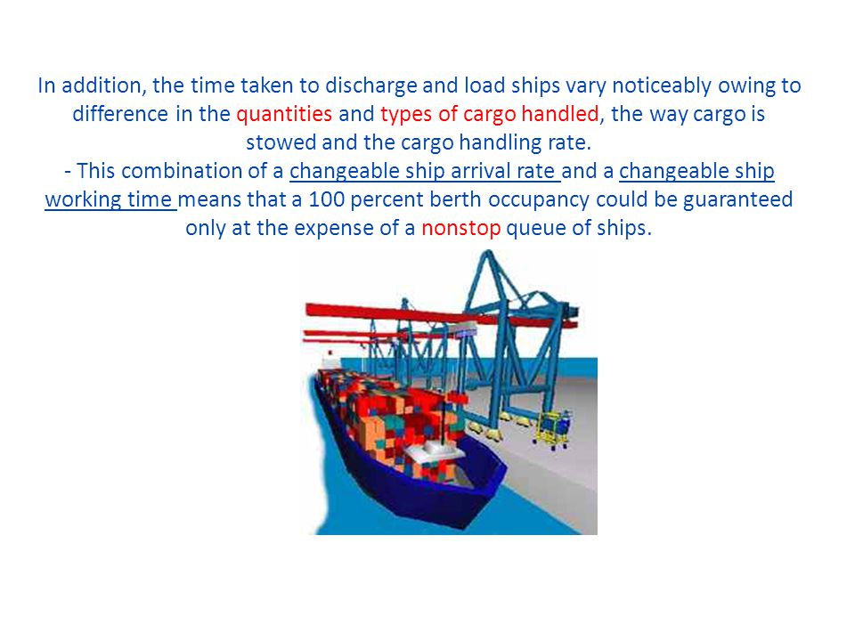 In addition, the time taken to discharge and load ships vary noticeably owing to difference in the quantities and types of cargo handled, the way carg