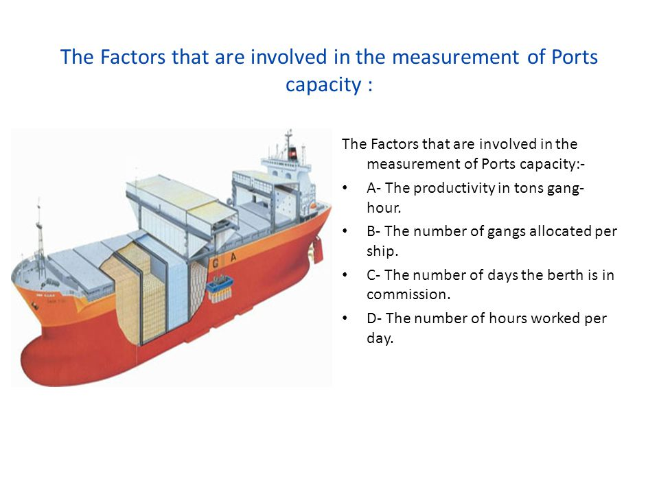 The Factors that are involved in the measurement of Ports capacity : The Factors that are involved in the measurement of Ports capacity:- A- The produ