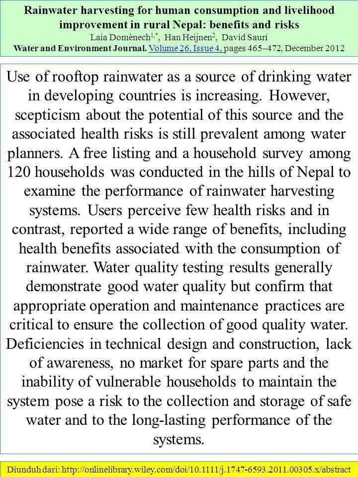 Diunduh dari: http://www.sciencedirect.com/science/article/pii/S0921344911000103………… 18/1/2013 Cost-efficiency of rainwater harvesting strategies in dense Mediterranean neighbourhoods R.