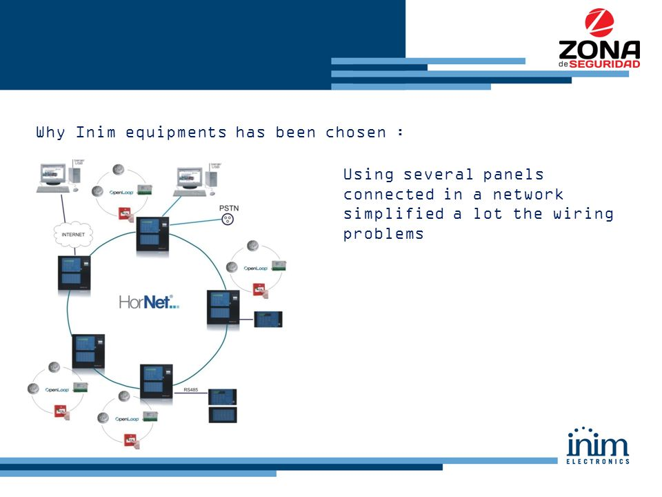 Why Inim equipments has been chosen : Using several panels connected in a network simplified a lot the wiring problems