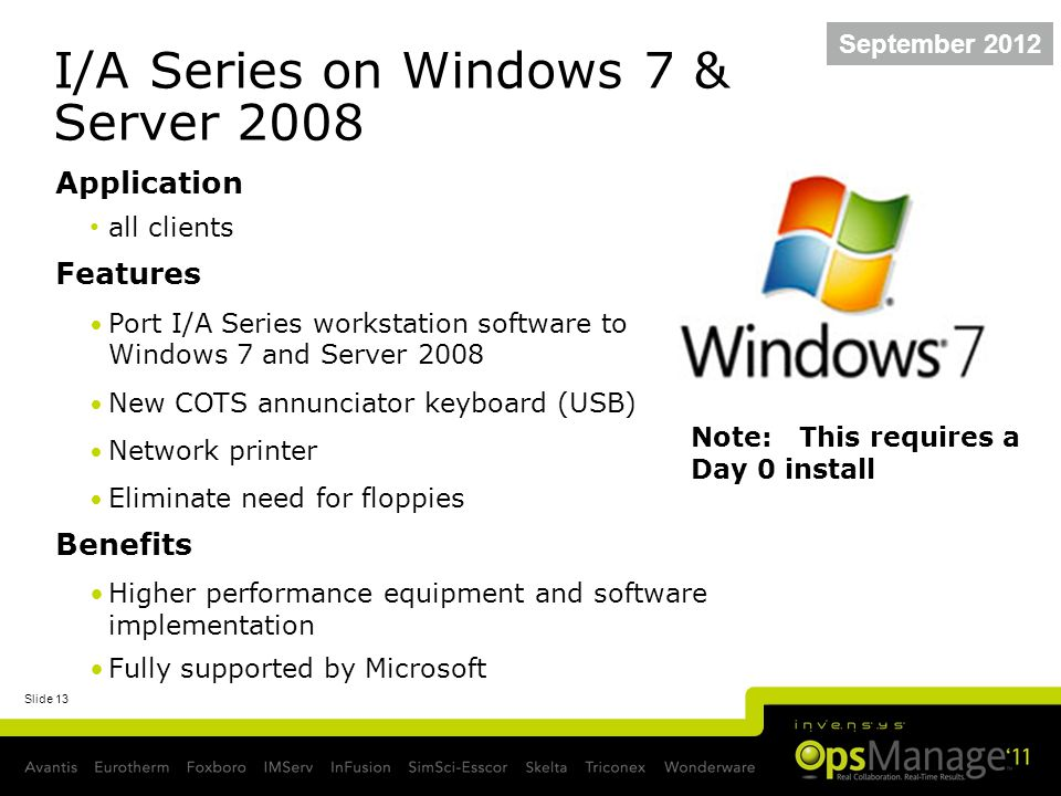 Slide 13 I/A Series on Windows 7 & Server 2008 Application all clients Features Port I/A Series workstation software to Windows 7 and Server 2008 New COTS annunciator keyboard (USB) Network printer Eliminate need for floppies Benefits Higher performance equipment and software implementation Fully supported by Microsoft September 2012 Note: This requires a Day 0 install