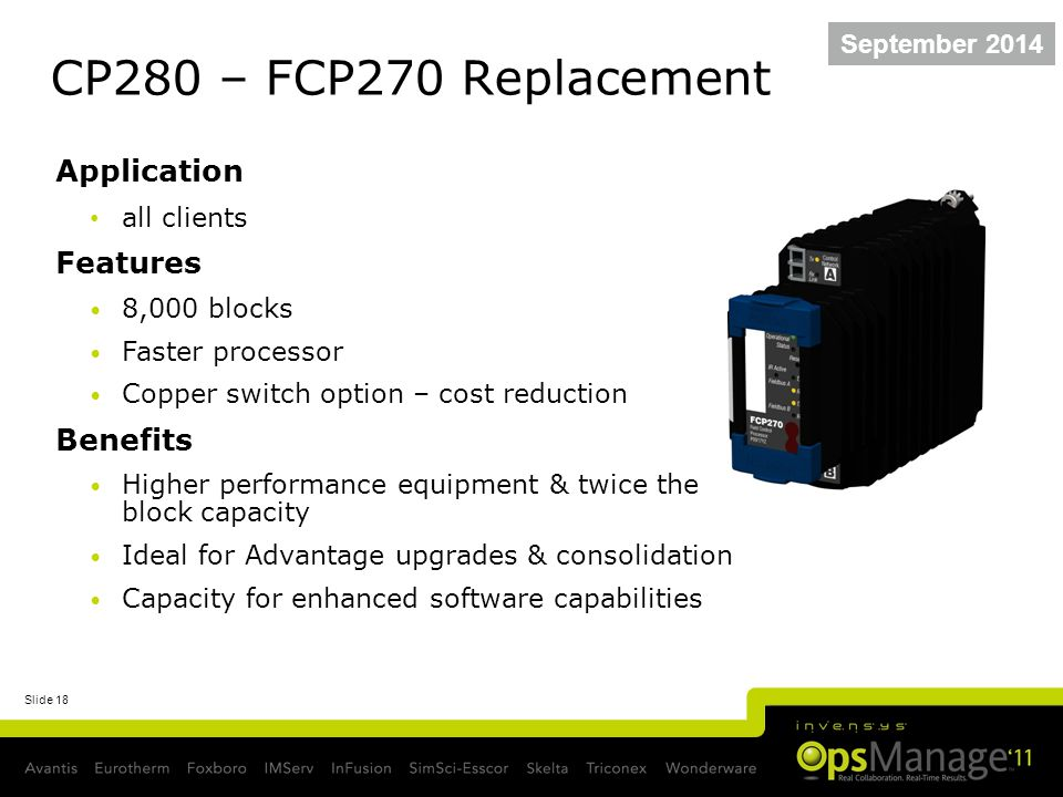 Slide 18 CP280 – FCP270 Replacement September 2014 Application all clients Features 8,000 blocks Faster processor Copper switch option – cost reductio