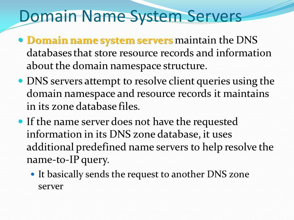 Domain Name System Servers Domain name system servers Domain name system servers maintain the DNS databases that store resource records and informatio
