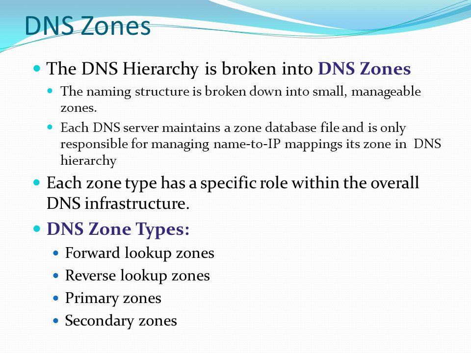 DNS Zones The DNS Hierarchy is broken into DNS Zones The naming structure is broken down into small, manageable zones. Each DNS server maintains a zon