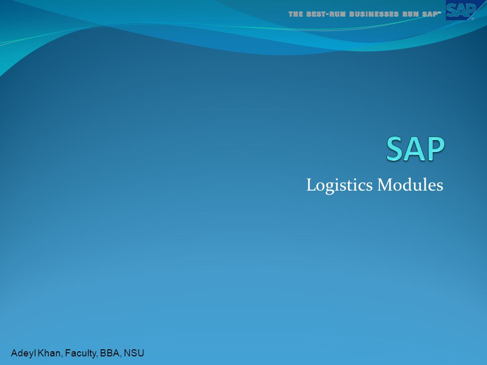 Adeyl Khan, Faculty, BBA, NSU Logistics Modules