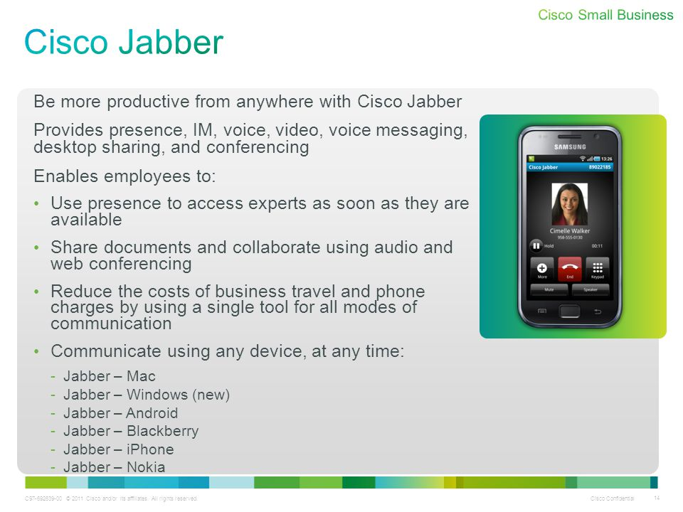 C97-692639-00 © 2011 Cisco and/or its affiliates. All rights reserved. Cisco Confidential 14 Be more productive from anywhere with Cisco Jabber Provid