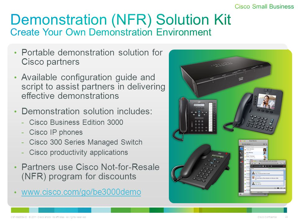 C97-692639-00 © 2011 Cisco and/or its affiliates. All rights reserved. Cisco Confidential 24 Portable demonstration solution for Cisco partners Availa