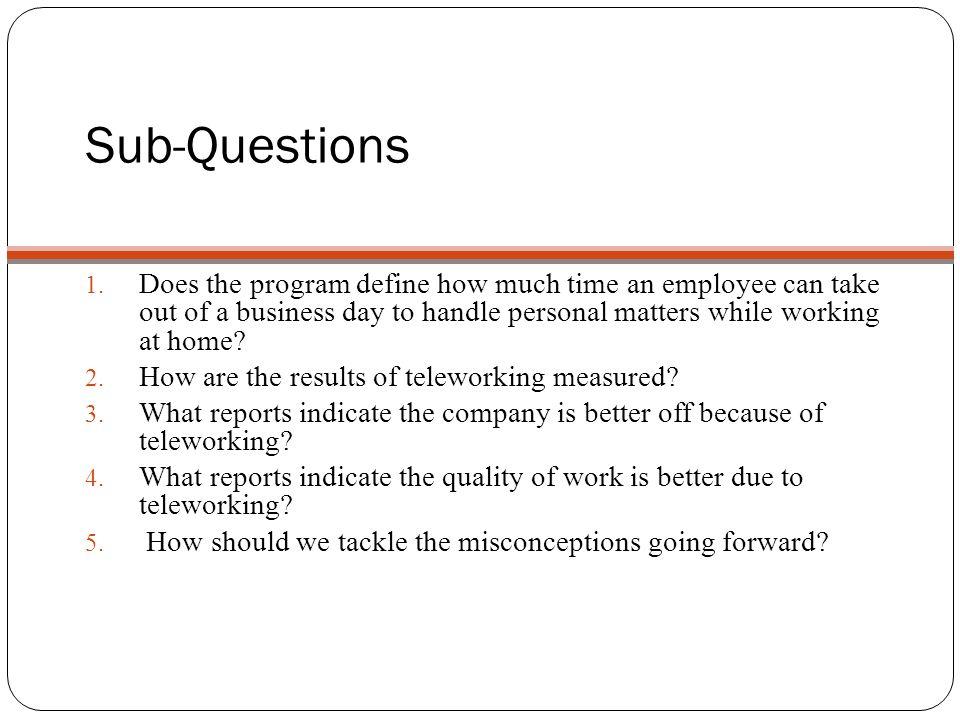Sub-Questions 1.