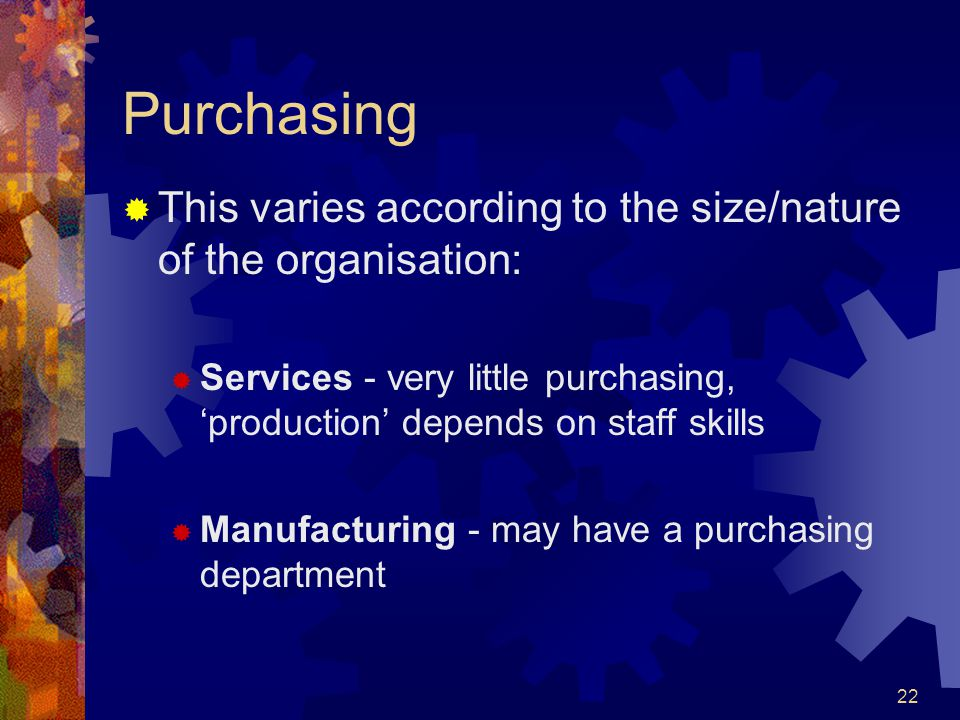 22 Purchasing This varies according to the size/nature of the organisation: Services - very little purchasing, production depends on staff skills Manu