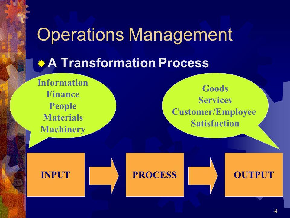 4 Operations Management A Transformation Process PROCESSINPUTOUTPUT Information Finance People Materials Machinery Goods Services Customer/Employee Sa