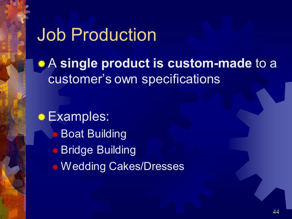44 Job Production A single product is custom-made to a customers own specifications Examples: Boat Building Bridge Building Wedding Cakes/Dresses