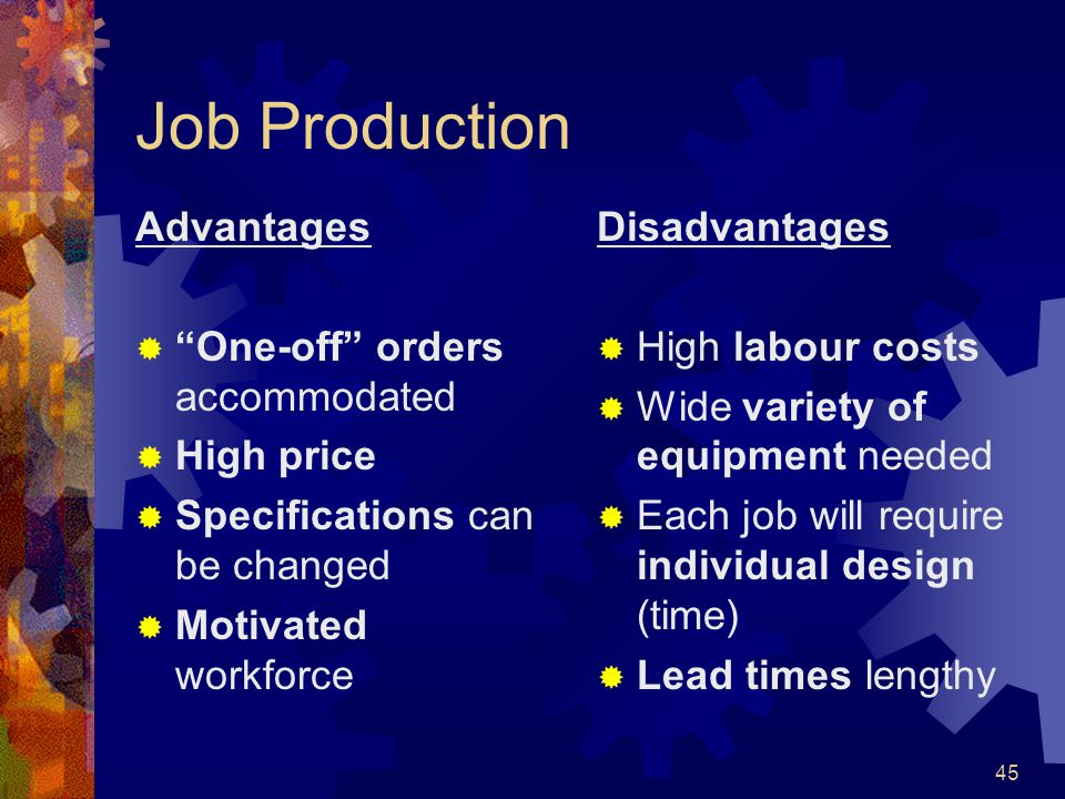 45 Job Production Advantages One-off orders accommodated High price Specifications can be changed Motivated workforce Disadvantages High labour costs
