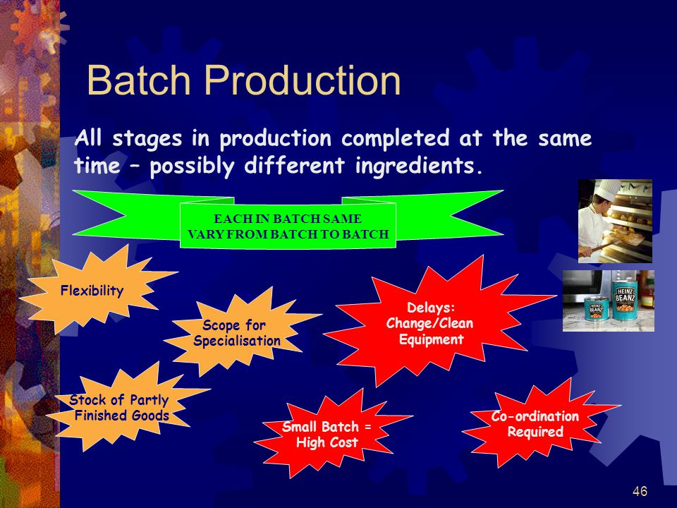 46 Batch Production Flexibility Stock of Partly Finished Goods Scope for Specialisation Delays: Change/Clean Equipment Small Batch = High Cost Co-ordi