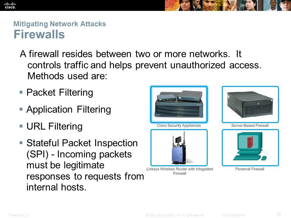 Presentation_ID 25 © 2008 Cisco Systems, Inc. All rights reserved.Cisco Confidential Mitigating Network Attacks Firewalls A firewall resides between t