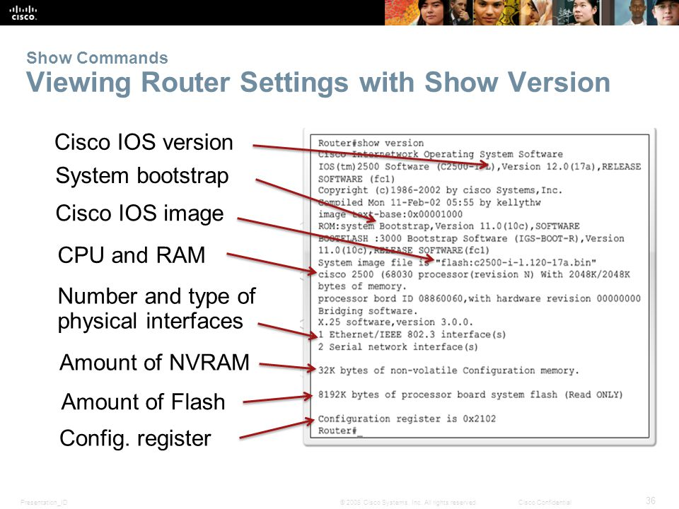 Presentation_ID 36 © 2008 Cisco Systems, Inc. All rights reserved.Cisco Confidential Show Commands Viewing Router Settings with Show Version Cisco IOS